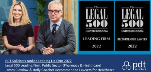 PDT Solicitors ranked as leading UK Pharmacy & Healthcare lawyers by the Legal 500 2022